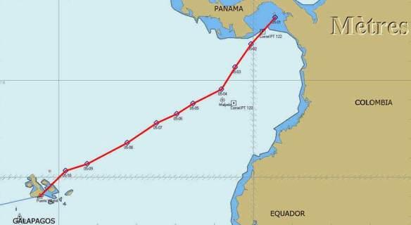 Route depuis l'Archipel des Perlas (Sud Panama)