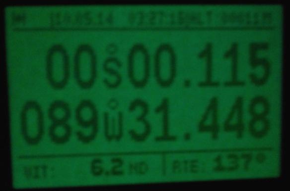 Pour ceux qui aiment les chiffres ronds, nous sommes partis de 45° Nord, 0° Ouest (Greenwich) et franchissons la ligne par 0° Nord, 90° Ouest, il y a du Pythagore qui traine dans ces angles !