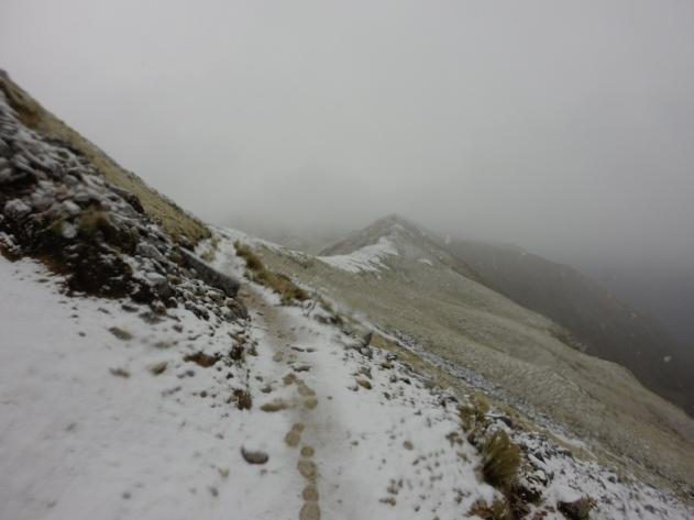 LA crête le 17 janvier 2015 (l'équivalent du 17 juillet). 1200 mètres d'altitude. Par grand vent, les trampers sont à 4 pattes…